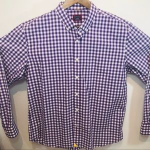 UNTUCKit XL Mens Purple & White Gingham Shirt